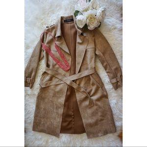 Zara Suede Trench Coat NWOT